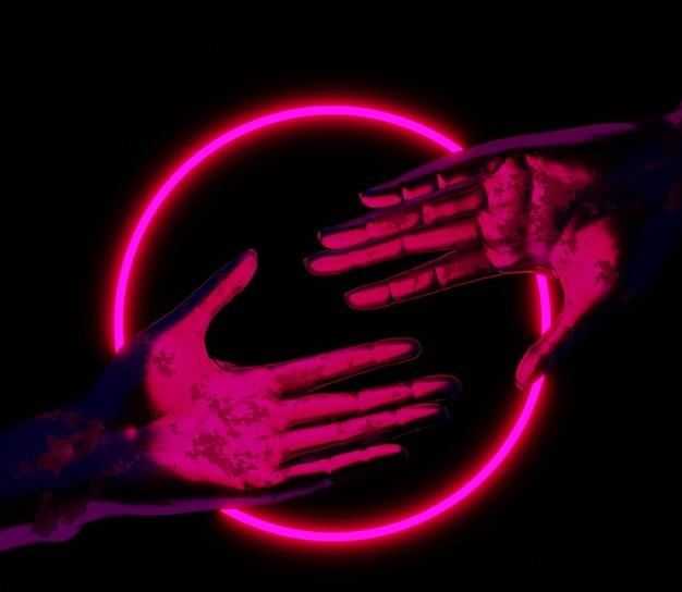 3d illustration main abstrait brillant néon coloré