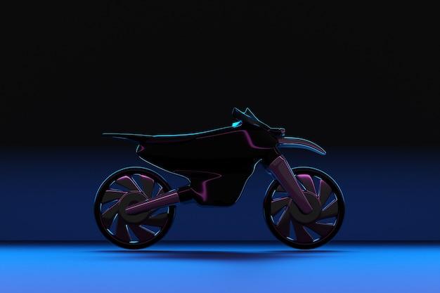 3d illustration d'une moto noire dans une salle de néon lumineux