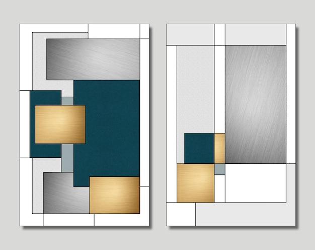 3d illustration mur cadre toile art forme grise et dorée avec des lignes noires pour la décoration murale