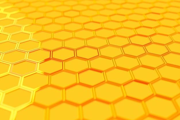 3d illustration d'un nid d'abeille monochrome jaune en nid d'abeille pour le miel