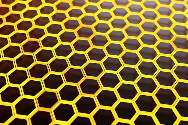 3d illustration d'un nid d'abeille monochrome en nid d'abeille pour le miel