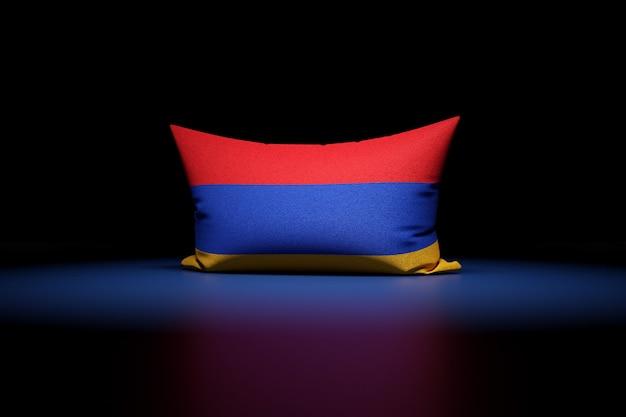 3d illustration d'oreiller rectangulaire représentant le drapeau national de l'arménie