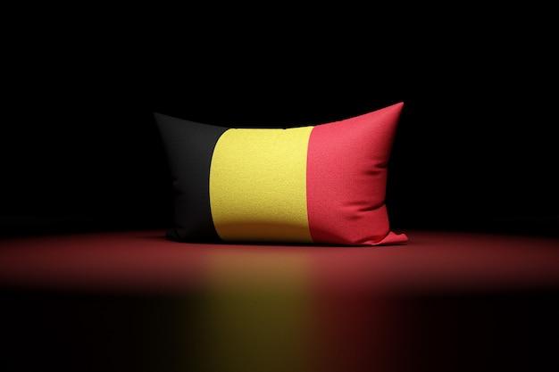 3d illustration d'oreiller rectangulaire représentant le drapeau national de la belgique
