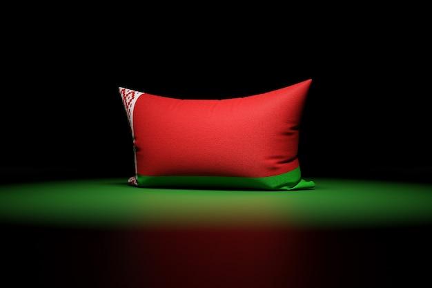 3d illustration d'oreiller rectangulaire représentant le drapeau national du bélarus