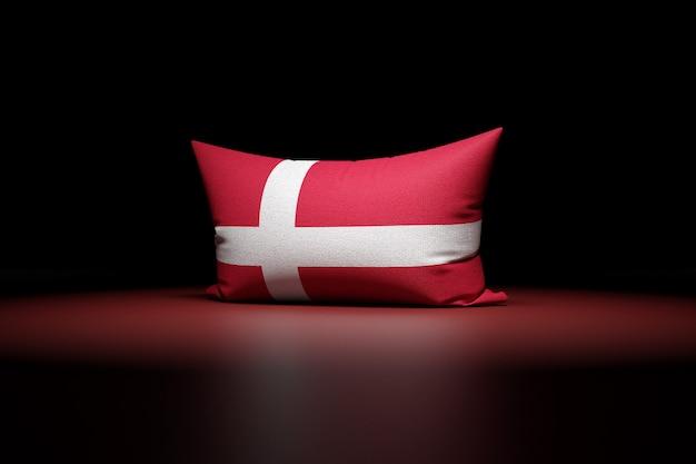 3d illustration d'oreiller rectangulaire représentant le drapeau national du danemark