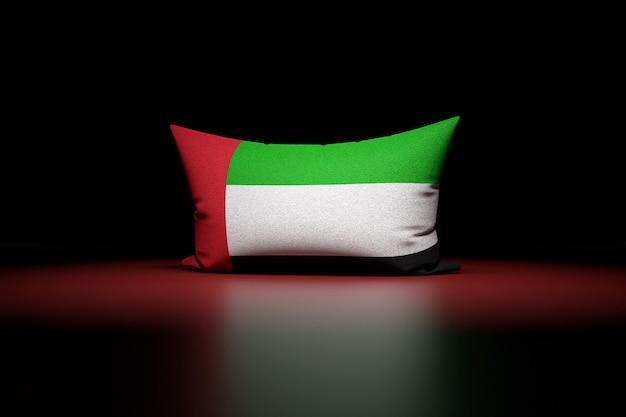 3d illustration d'oreiller rectangulaire représentant le drapeau national des émirats arabes unis