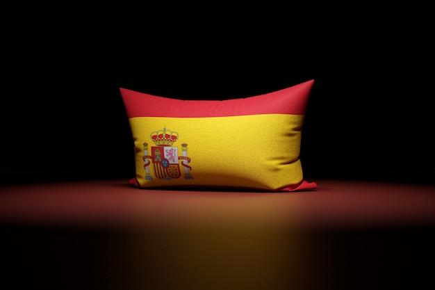 3d illustration d'oreiller rectangulaire représentant le drapeau national de l'espagne