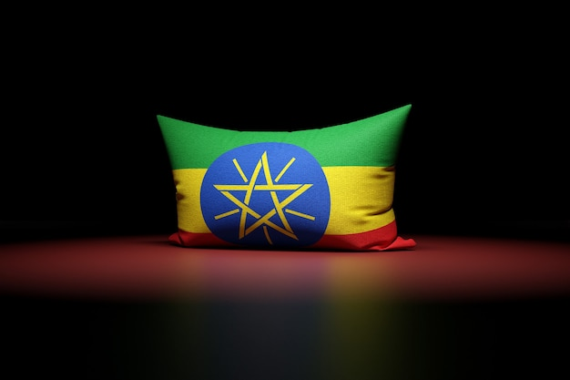 3d illustration d'oreiller rectangulaire représentant le drapeau national de l'éthiopie