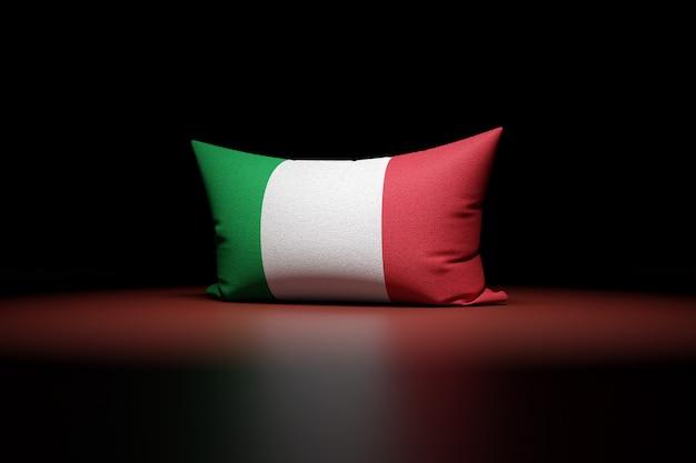 3d illustration d'oreiller rectangulaire représentant le drapeau national de l'italie