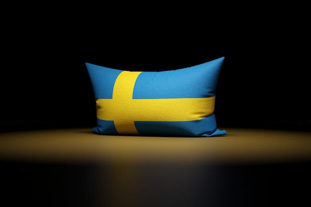 3d illustration d'oreiller rectangulaire représentant le drapeau national de la suède