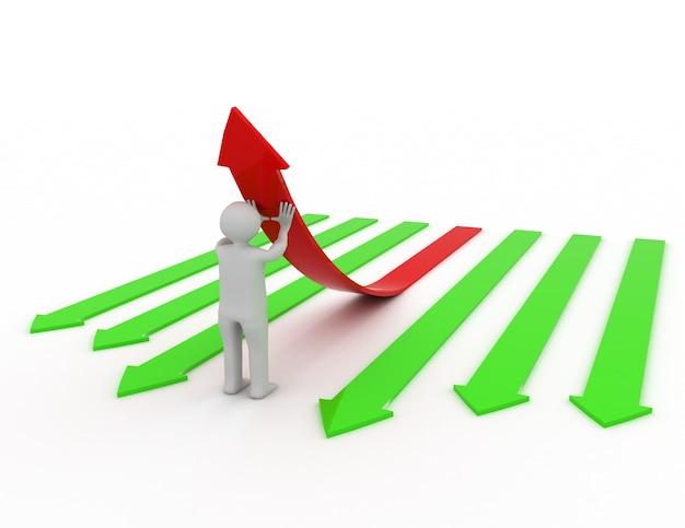 3d illustration de personne poussant une flèche rouge.
