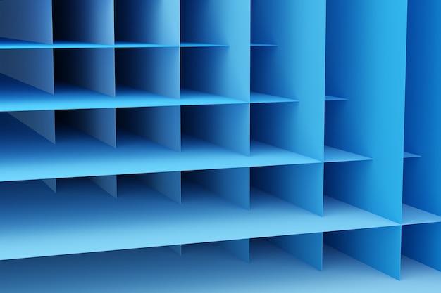 3d, illustration, de, rangées, de, rayures bleu, flanquant, cellules., ensemble, de, maillage, sur, arrière-plan bleu.