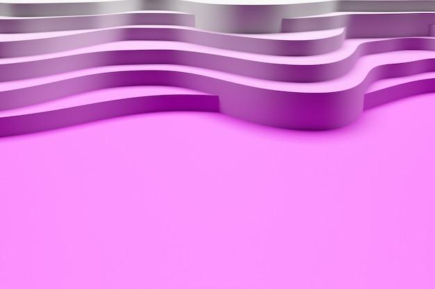 3d illustration de la vague rose et blanche