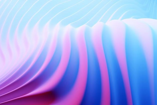 3d illustration de la vague rose et bleue