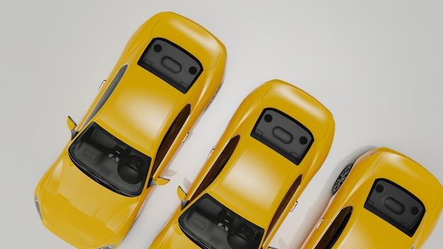3d illustration de voitures jaunes sur une surface blanche