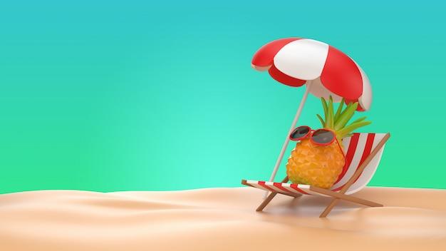 3d illustrer l'ananas assis sur une chaise de banc sur fond de plage d'été