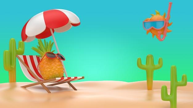 3d illustrer l'ananas assis sur une chaise de banc sur fond de plage