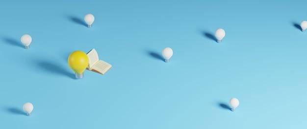 3d, de, livre, et, ampoule, sur, surface bleue