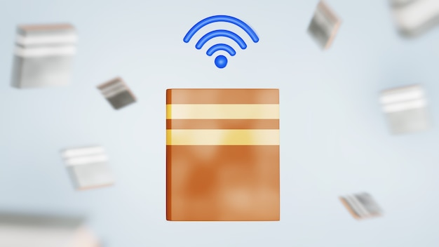 3d, de, livre, et, wifi, icône