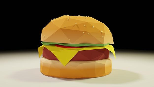 3d low poly burger isolé