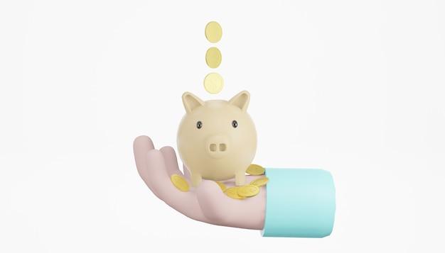 3d main tenant tirelire, pile de pièces, fond blanc isolé, concept d'économie d'argent, rendu 3d