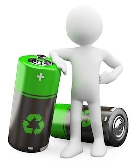 3d man - piles recyclables