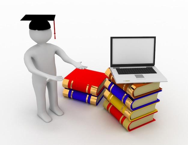 3d manl - diplômé et livres .3d rendu illustration