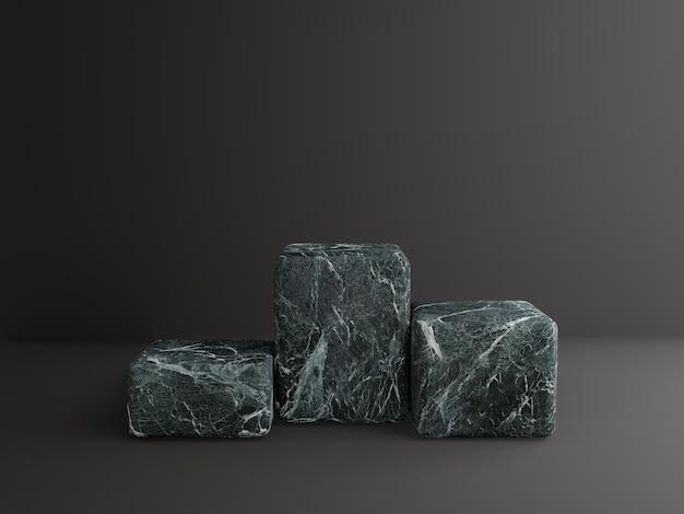 3d marbre podium fond noir géométrique
