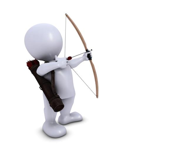 3d morph man archer avec arc et flèche