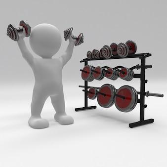 3d morph man exerçant avec des poids de gym