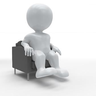 3d morph man se détendre dans un fauteuil