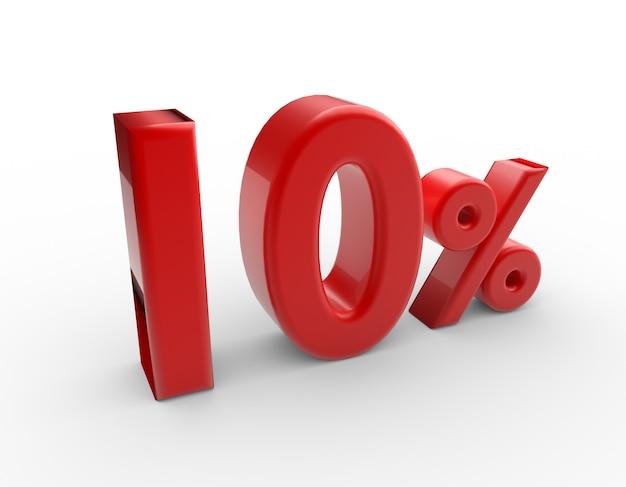3d mot 10 pour cent isolé sur blanc