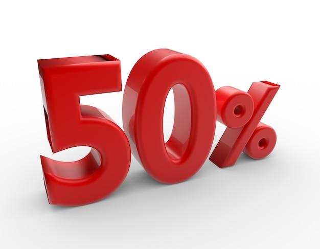 3d mot 50 pour cent isolé sur blanc