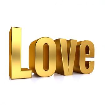 3d, mot doré, amour, dans, blanc, studio