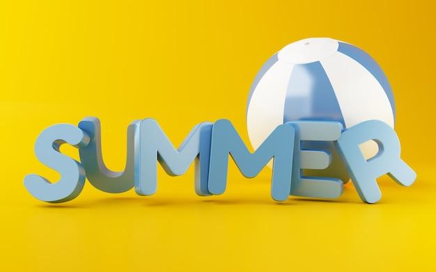 3d mot d'été avec ballon de plage.