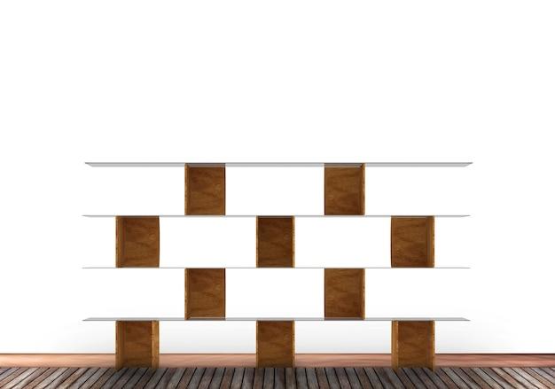 3d mur blanc et fond de bois étagère livre
