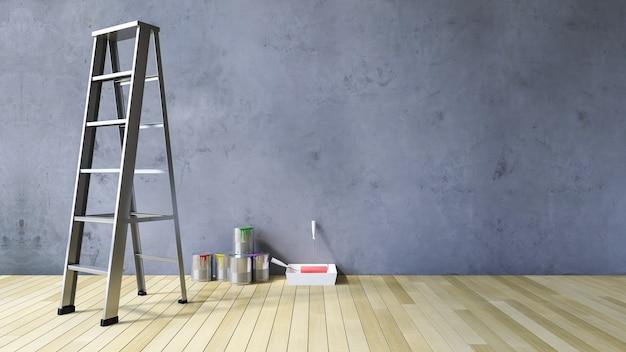3d mur blanc et outils de peinture