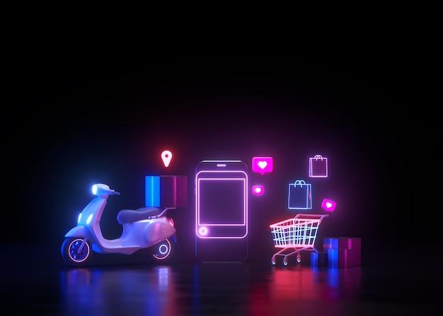 3d neon shopping en ligne et livraison gratuite par concept de service de scooter, néon futuriste.