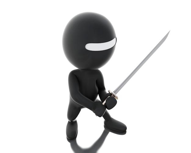 3d ninja avec épée dans une posture agressive