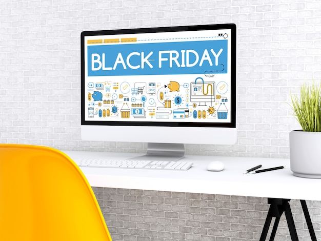 3d ordinateur avec le mot noir vendredi.