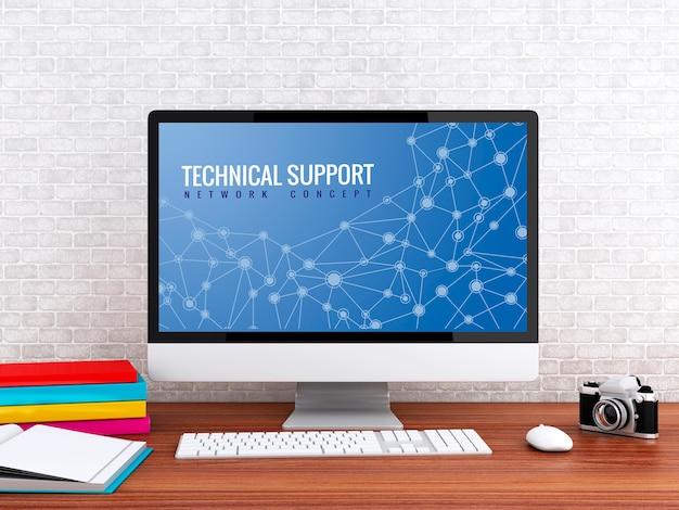 3d ordinateur avec des mots support technique.