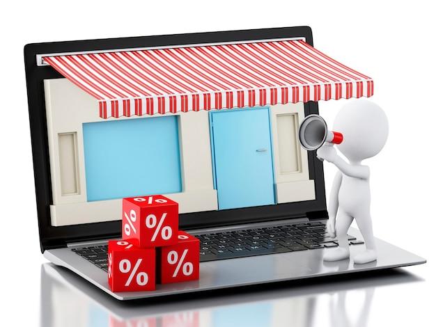 3d ordinateur portable magasin, e-commerce.