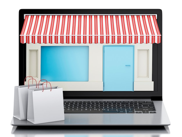 3d ordinateur portable magasin, e-commerce.