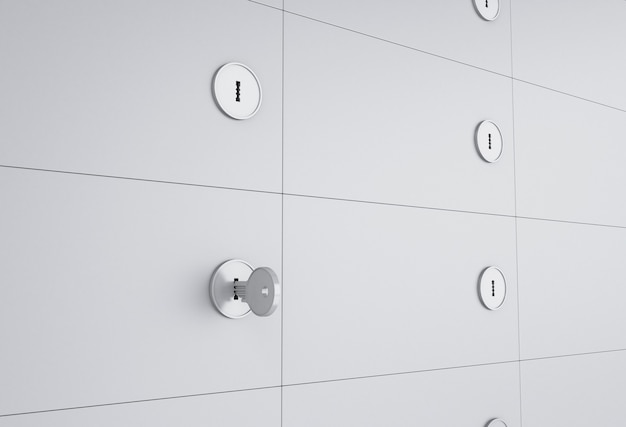 3d ouvrez le coffre-fort avec la clé sur le trou de la serrure.