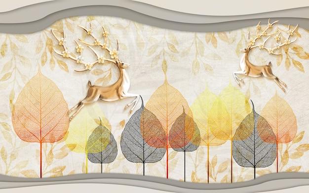3d papier peint mural art mural cerf et arbre feuilles lignes de vagues dorées en fond clair