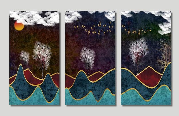 3d paysage papier peint décoration murale fond sombre nuages blancs oiseaux et arbres dorés