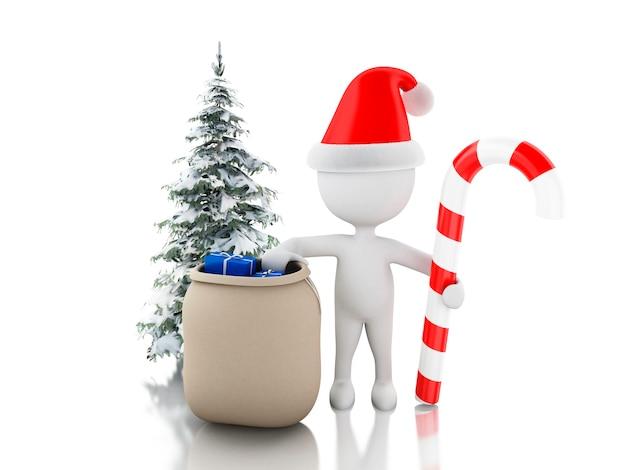 3d père noël avec un sac de cadeaux, des bonbons de noël et des arbres. concept de noël
