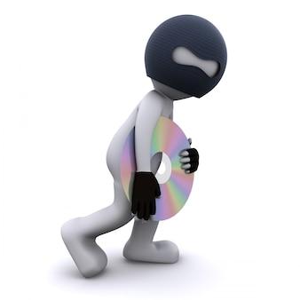3d personnage volant cd. concept de piratage informatique