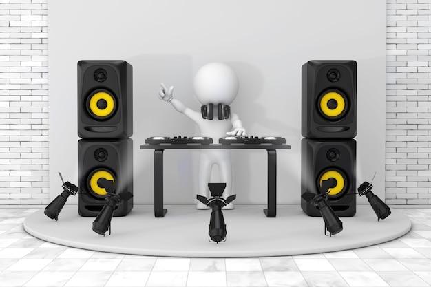 3d personne disc jockey avec une platine, des haut-parleurs et des écouteurs font une session sur un podium blanc avec des projecteurs de scène en gros plan extrême. rendu 3d.