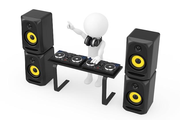 3d personne disc jockey avec une platine, des haut-parleurs et des écouteurs sur session sur un fond blanc. rendu 3d.